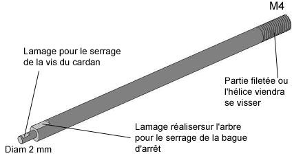 Arbre de transmission avec ses deux lamages - 15.6ko