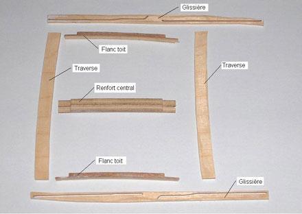 Pièces pour l'ossature du toit et de ses deux glissières - 20.3ko